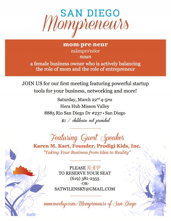 San Diego Mompreneur Event Flyer